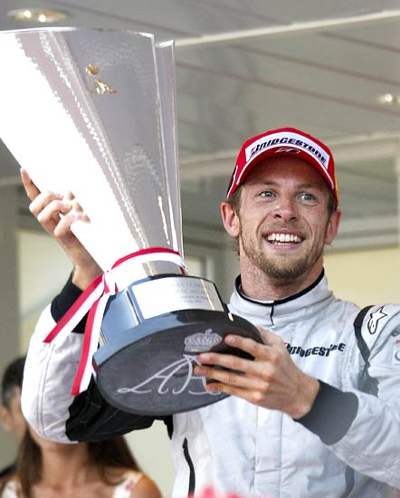 Jenson Button celebrates after winning the Monaco F1 Grand Prix