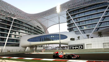 Lewis Hamilton in action during the Abu Dhabi GP on Sunday