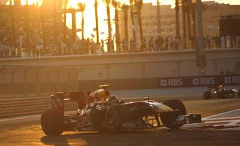 Sebastian Vettel drives past his competitors during the Abu Dhabi GP on Sunday