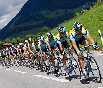 Cyclists in action during the Tour de France