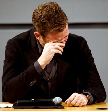 Germany team manager Oliver Bierhoff in tears during a news conference