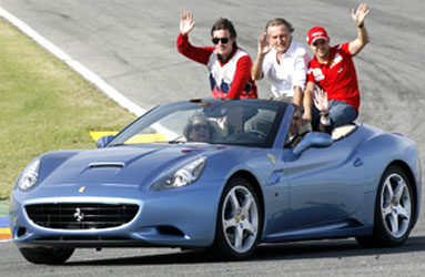 Fernando Alonso, Ferrari CEO Montezemolo and Felipe Massa during Ferrari Finali Mondiali event in Spain