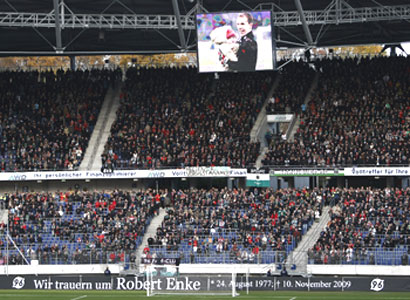Thousands of supporters attend the memorial service in honour of Enke