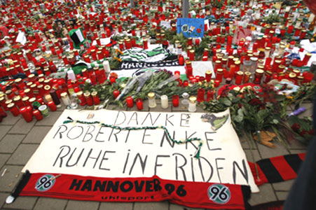 A banner reading 'Thank you Robert, rest in peace' is placed outside German club Hanover 96's stadium on Sunday