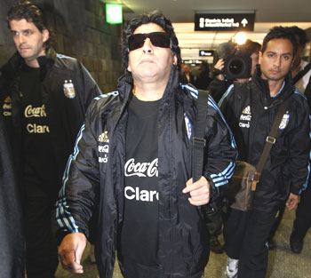 Diego Maradona arrives at Zurich airport