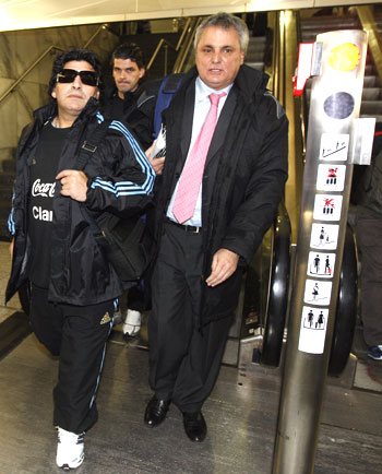 Maradona arrives at Zurich airport on Sunday