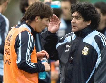 Lionel Messi and Maradona