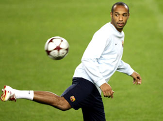 Barcelona's Thierry Henry at a training session at the Nou Camp on Monday