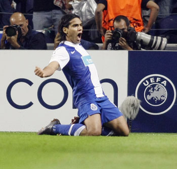 Porto's Falcao celebrates after scoring a goal against Atletico Madrid