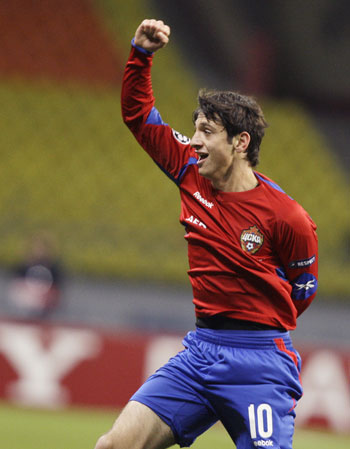 CSKA Moscow's Alan Dzagoev celebrates after scoring against Besiktas