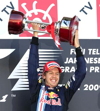Sebastian Vettel is ecstatic after winning the Japanese GP on Sunday