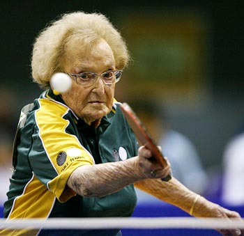 Dorothy De Low, 99, from Australia participates in table tennis practice at the World Masters Games