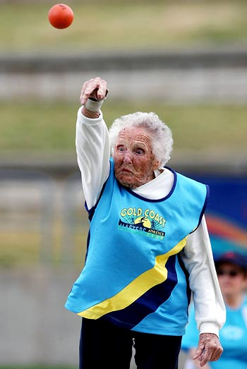 Ruth Frith, a 100-year-old from Australia, competes in the women's shot put final