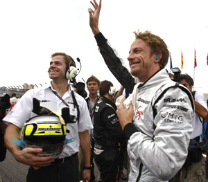 Jenson Button celebrates after winning the 2009 FI championship