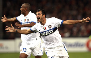 Inter Milan's Stankovic celebrates after scoring against Genoa on Saturday