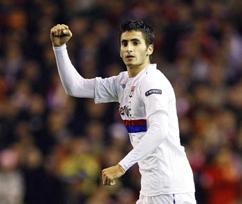 Olympique Lyon's Maxime Gonalons celebrates after scoring against Liverpool