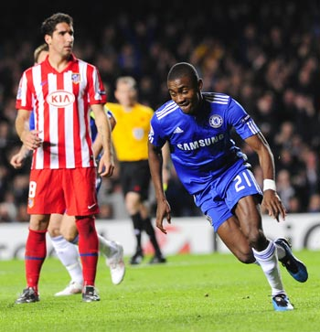 Salomom Kalou of Chelsea celebrates scoring during their Champions League soccer match against Atletico Madrid