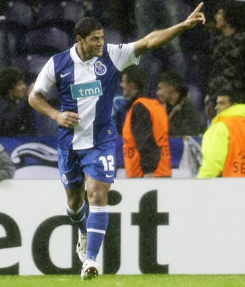 Porto's Hulk celebrates his second goal against Apoel Nicosia