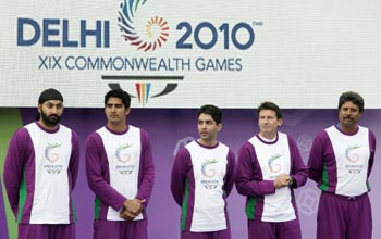 Athletes stand in the grounds of Buckingham Palace during the launch of the 2010 Commonwealth Games