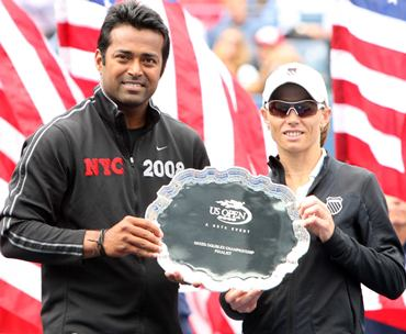 Paes and Black with their runners-up trophy