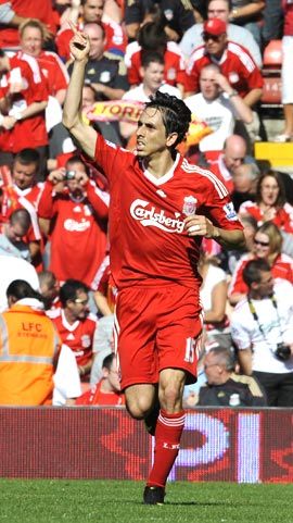 Liverpool's Yossi Benayoun celebrates after scoring against Burnley on Saturday