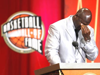 Jordan gets emotional during the Basketball Hall of Fame Enshrinement Ceremony