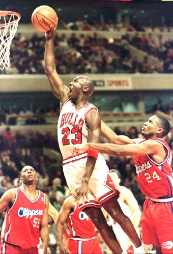 'Air Jordan' in action during an NBA match between the Chicago Bulls and LA Clippers