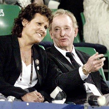Evonne Goolagong Cawley (left) with Rod Laver