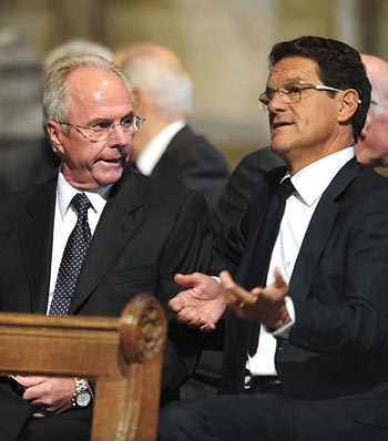 Former England manager Sven Goran Eriksson (left) with current England manager Fabio Capello