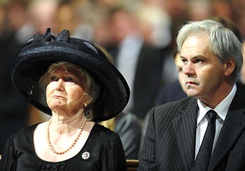 The wife of the late Bobby Robson, Elsie (left) and his son Andrew