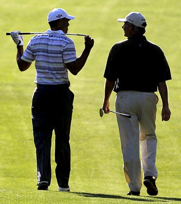 Tiger Woods with Fred Couples