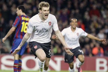 Nicklas Bendtner scores the opening goal