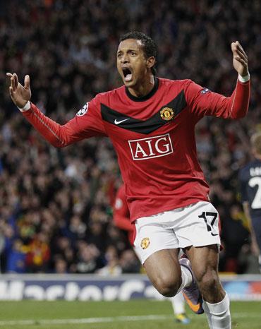 Nani celebrates after scoring