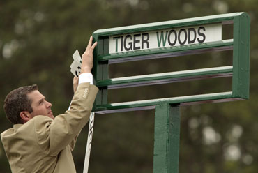 The name of Tiger Woods is posted on the first tee before he begins first round play at the Augusta Masters