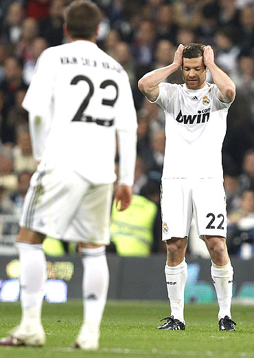 Real Madrid's Xabi Alonso reacts after the match