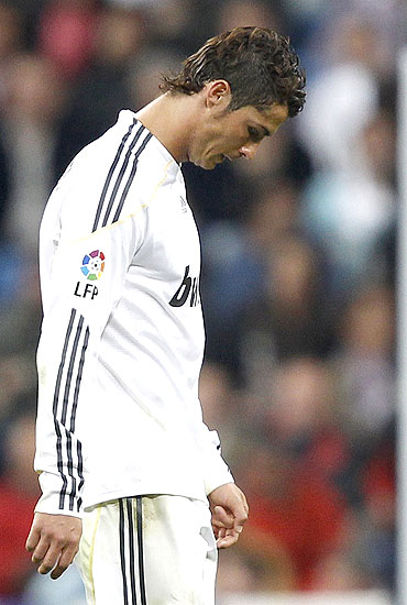 A dejected Cristiano Ronaldo