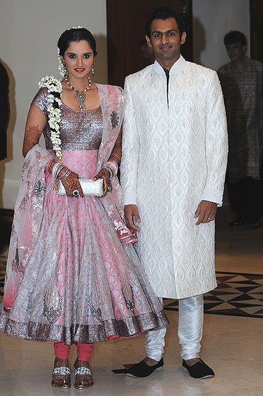 Sania Mirza and Shoaib Malik during the Sangeet ceremony on Wednesday