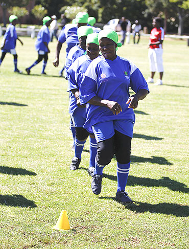 Members of Vakhegula Vakhegula (Grannies Grannies) Football Club go through the grind during a training session