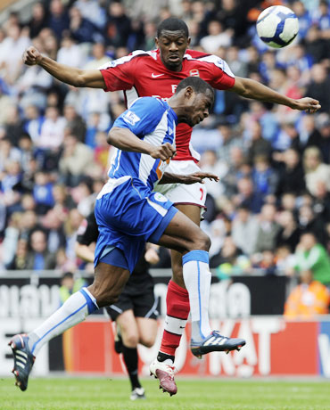 Wigan Athletic's Figueroa challenges Arsenal's Diarby during their match