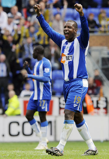 Wigan Athletic's Bramble reacts after scoring