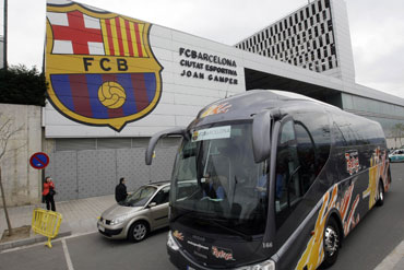 Barcelona's team leaves their training ground Ciutat Esportiva Joan Gamper in Barcelona