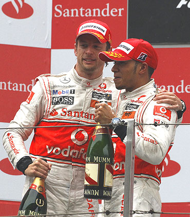 Jenson Button (left) and Lewis Hamilton