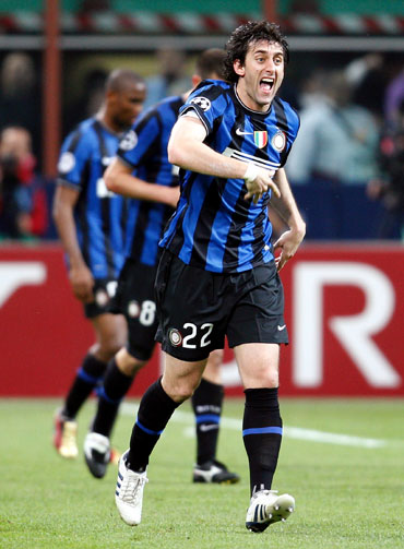Inter Milan's Diego Milito celebrates after scoring against Barcelona during their Champions League semi-finals