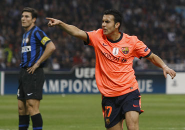 Barcelona's Pedro Rodriguez scored the opening goal of the match