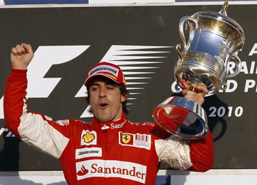 Fernando Alonso after winning Bahrain GP