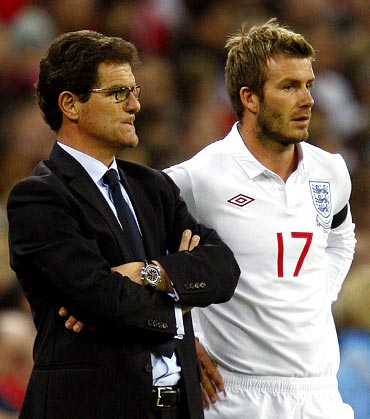 David Beckham with England manager Fabio Capello