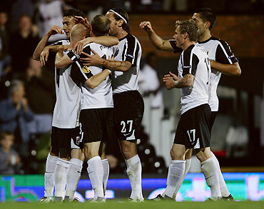 Fulham players celebrate