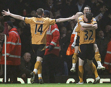 Players of Wolverhampton Wanderers celebrate