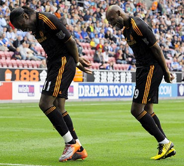Chelsea's Nicolas Anelka (right) celebrates scoring a goal with team mate Didier Drogba