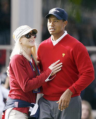 Tiger Woods and Elin Nordegren in happier times